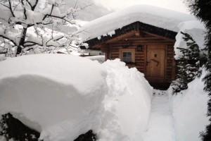 verschneites Gartenhaus mit Grillmöglichkeit